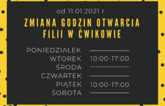 Zdjęcie do wpisu Zmiana godzin otwarcia Filii w Ćwikowie