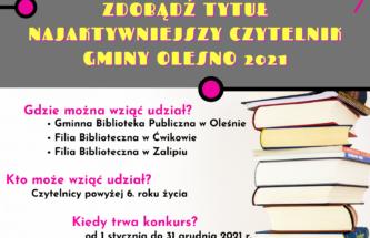 Przejdź do wpisu Konkurs Najaktywniejszy Czytelnik Gminy Olesno 2021