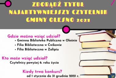Zdjęcia z galerii Konkurs Najaktywniejszy Czytelnik Gminy Olesno 2021
