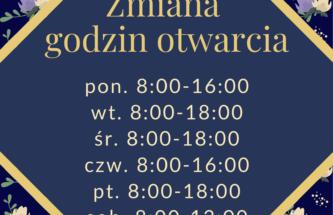 Przejdź do wpisu Zmiana godzin otwarcia biblioteki